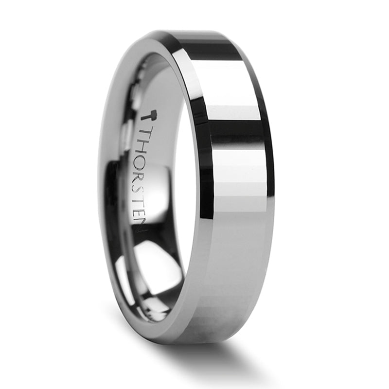 Thorsten Turin Rectangular Faceted Tungsten Carbide Ring w/ Beveled Edges (4-8mm) W273-RFB