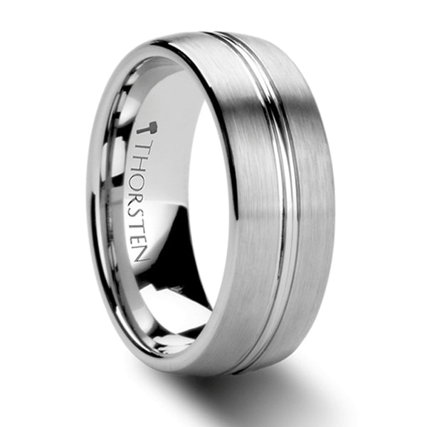Thorsten Boss Rounded Brushed Center Groove Tungsten Carbide Ring (6-8mm) W284-DCGT