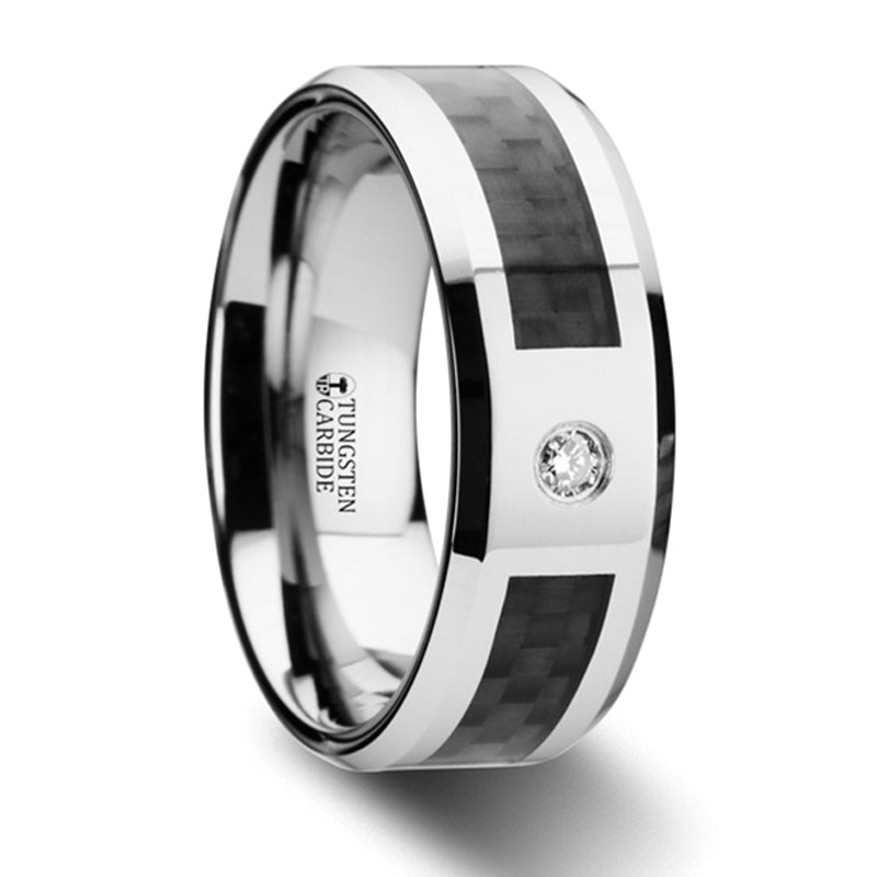 Thorsten Cayman Tungsten Carbide Ring w/ Black Carbon Fiber & White Diamond Setting w/ Bevels(8mm)W2958-TBCD