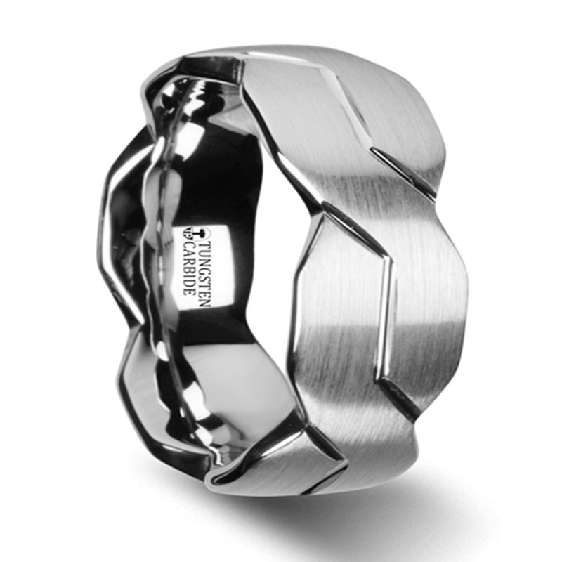 Thorsten Forever White Tungsten Ring W Carved Infinity Symbol W2963