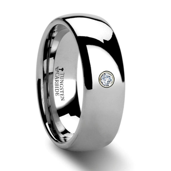 Thorsten Berkshire Rounded Tungsten Ring w/ Diamond (8mm)W311-DDTR