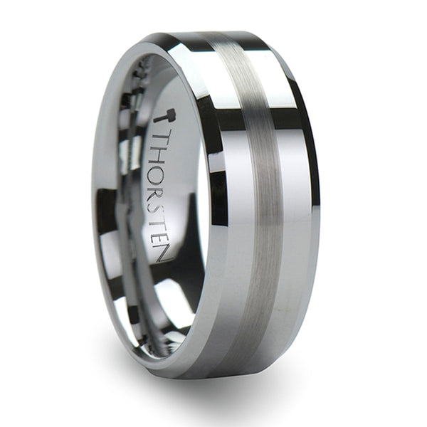 Thorsten Grenoble Beveled Tungsten Carbide Ring with Brushed Stripe (4-10mm) W322-FBBS