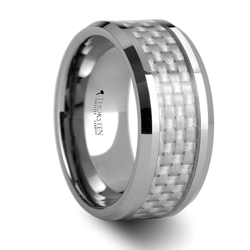 Thorsten Ultimus Beveled Tungsten Cardibe Ring with White Carbon Fiber Inlay (4-10mm) W335-WCFT