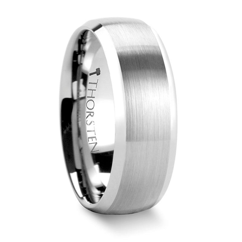 Thorsten Polaris Rounded Brushed Finish Tungsten Carbide Ring w/ Polished Bevels (6-8mm) W338-DBT