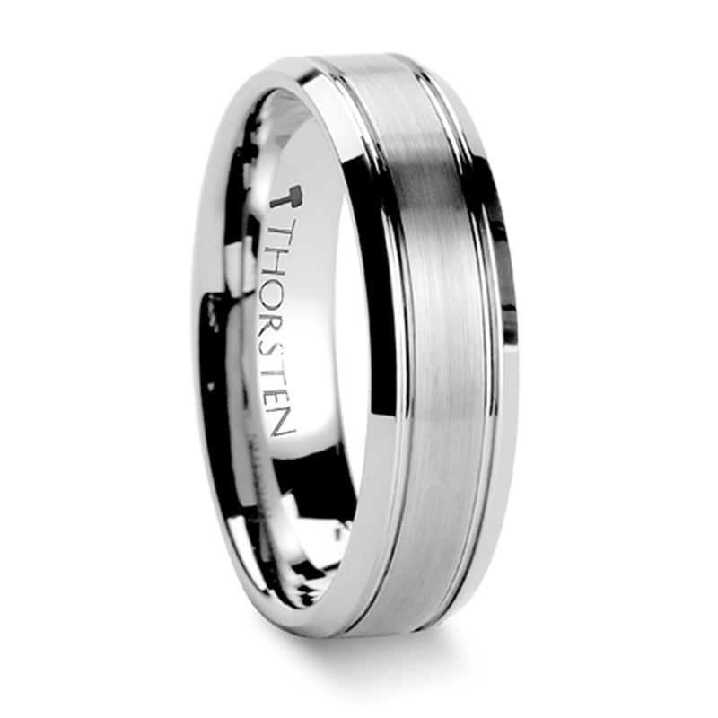 Thorsten Cronus Brushed Center Tungsten Wedding Carbide Ring w/ Polished Bevels (6-8mm) W341-BCPB