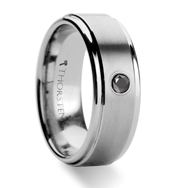 Thorsten Coventry Raised Brushed Center Tungsten Carbide Ring w/ Black Diamond (8mm)W350-RCBD