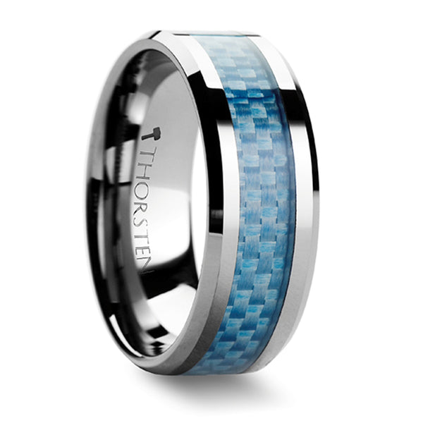 Thorsten Augustus Tungsten Carbide Ring w/ Blue Carbon Fiber Inlay (4-10mm) W354-BUCF