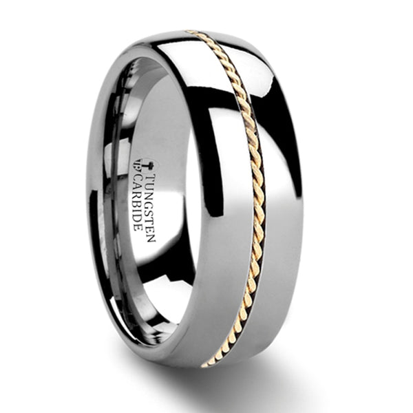 Thorsten Goldwyn Domed Tungsten Carbide Ring w/ Braided 14k Gold Inlay (8mm) W367-D8KB