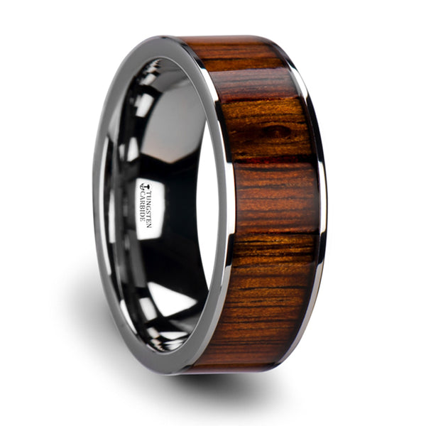 Thorsten Kalani Flat Tungsten Carbide Wedding Band w/ Rare Koa Wood Inlay & Polished Edges (6-10mm)W3753-TCKW