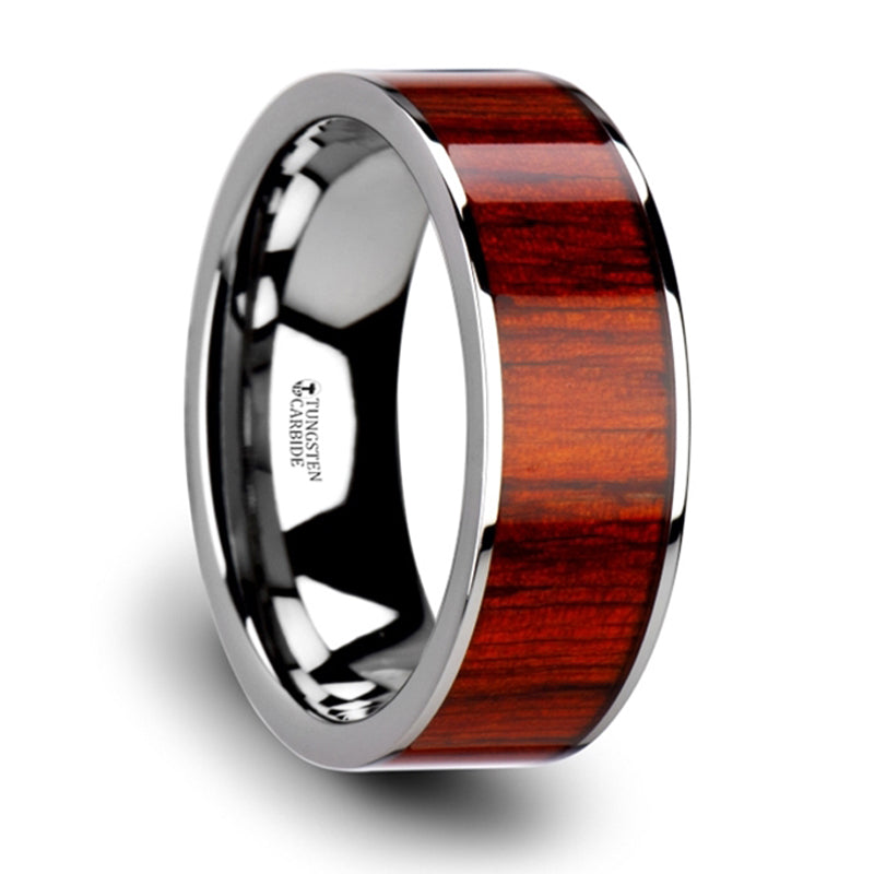 Thorsten Claymore Flat Tungsten Carbide Band w/ Exotic Padauk Wood Inlay & Polished Edges(8mm)W3761-TCRW