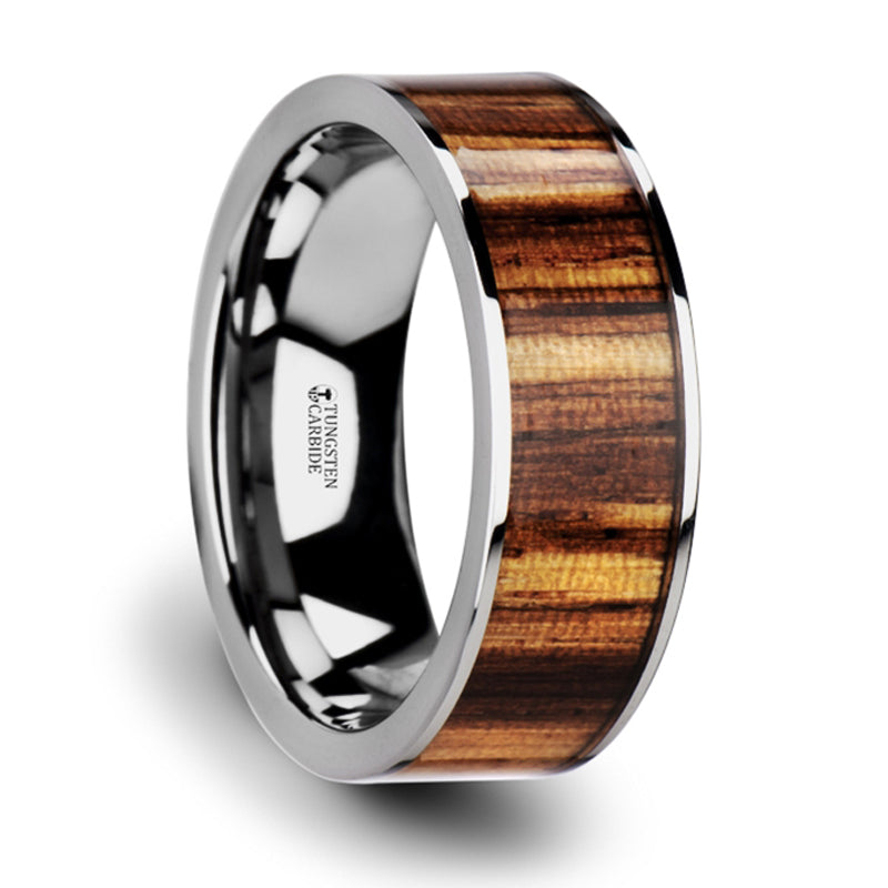 Thorsten Copan Flat Tungsten Carbide Ring with Polished Edges & Real Zebra Wood Inlay(8mm)W3763-TCZW