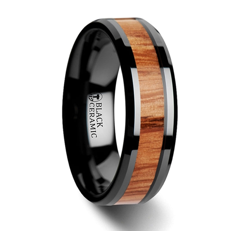 Thorsten Oblivion Red Oak Wood Inlaid Black Ceramic Ring w/ Bevels (6-10mm)W3780-BCRW