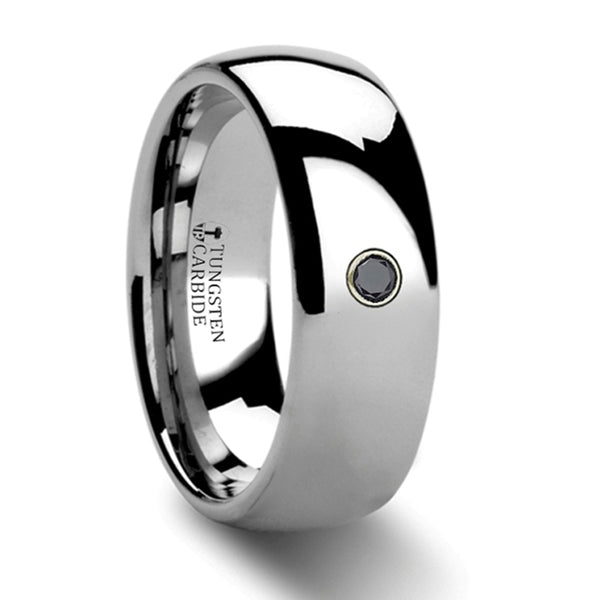 Thorsten Brisbane Rounded Black Diamond Tungsten Carbide Ring (8mm)W388-DPDH