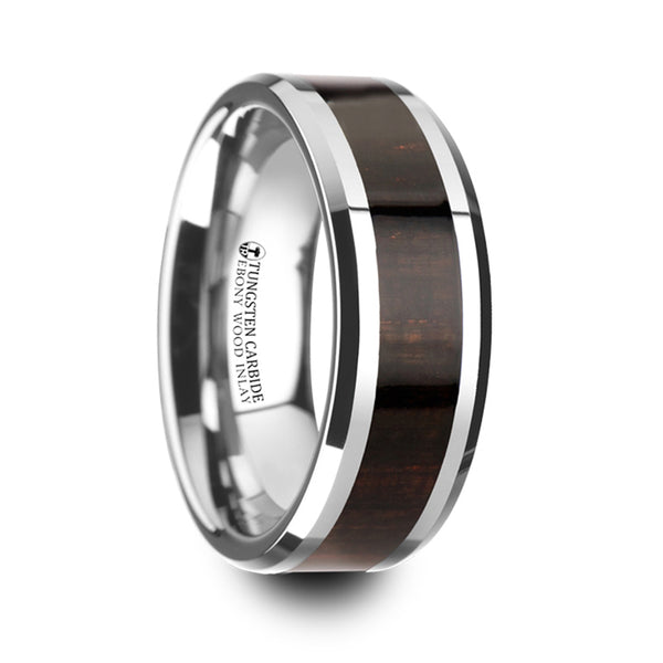 Thorsten Arcane Ebony Wood Inlaid Tungsten Carbide Ring w/ Bevels(8mm)W4273-EWWI