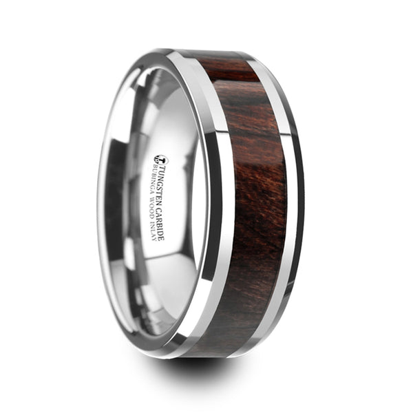 Thorsten Kevaz Bubinga Wood Inlaid Tungsten Carbide Ring w/ Bevels(8mm)W4274-BWWI