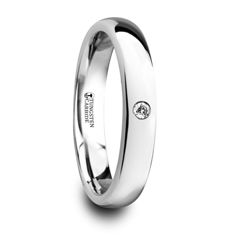 Thorsten Gale Polished & Domed Tungsten Carbide Wedding Ring w/ White Diamond (4mm) W4279-DPWD