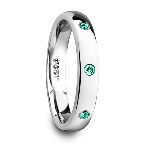 Thorsten Chloe Polished & Domed Tungsten Carbide Wedding Ring w/ 3 Green Emeralds Setting (4mm) W4280-DPGE