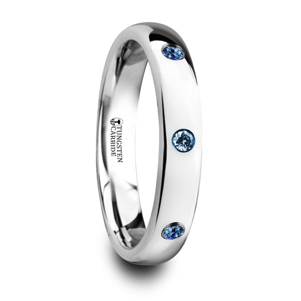 Thorsten Halia Polished & Domed Tungsten Carbide Wedding Ring w/ 3 Blue Sapphires Setting (4mm) W4282-DPBS