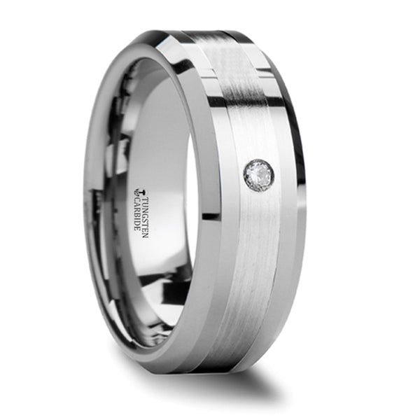 Thorsten Gautier Beveled Tungsten Carbide Ring w/ Palladium Inlaid & Diamond (8mm) W550-PDD1