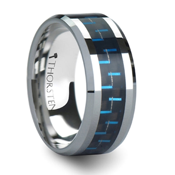 Thorsten Auxilius Black & Blue Carbon Fiber Inlay Tungsten Carbide Ring (6-10mm) W559-BBCF