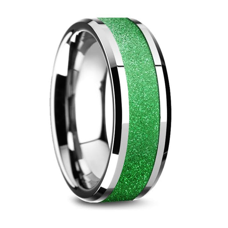 Thorsten Lawrence Tungsten Carbide Bevel Edged Ring w/ Sparkling Green Inlay (8mm) W5874-TSGI