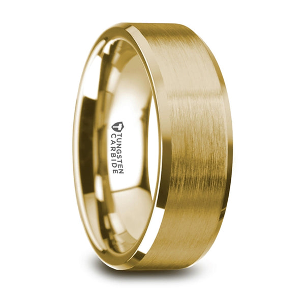 Thorsten Honor Gold Plated Tungsten Beveled Polished Edges Flat Ring w/ Brushed Center (8mm) W5968-GPTR