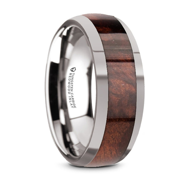 Thorsten Grove Tungsten Polished Edges Domed Wedding Ring w/ Redwood Inlay (8mm) W5975-TCRW