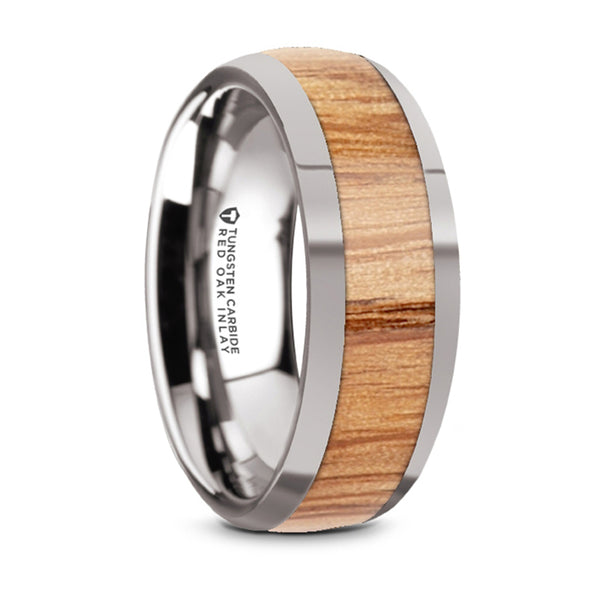 Thorsten Cindet Polished Edges Domed Tungsten Wedding Band w/ Red Oak Wood Inlay (8mm) W5976-TCRO