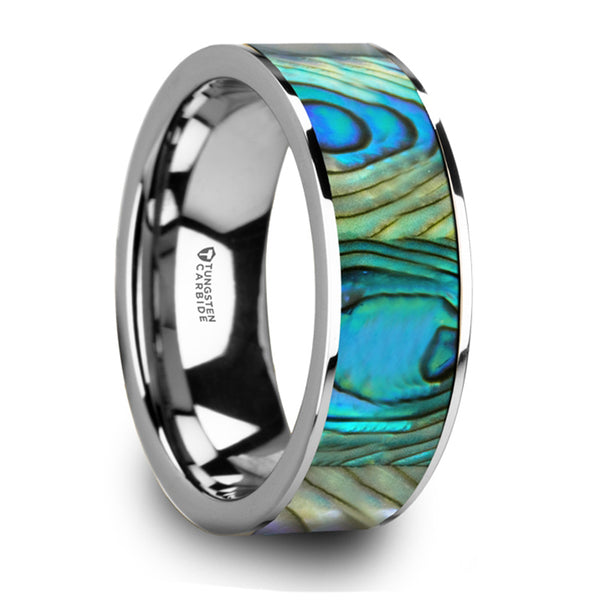 Thorsten Laurant Tungsten Flat Wedding Band w/ Mother Of Pearl Inlay & Polished Finish (8mm) W5977-TCMOP