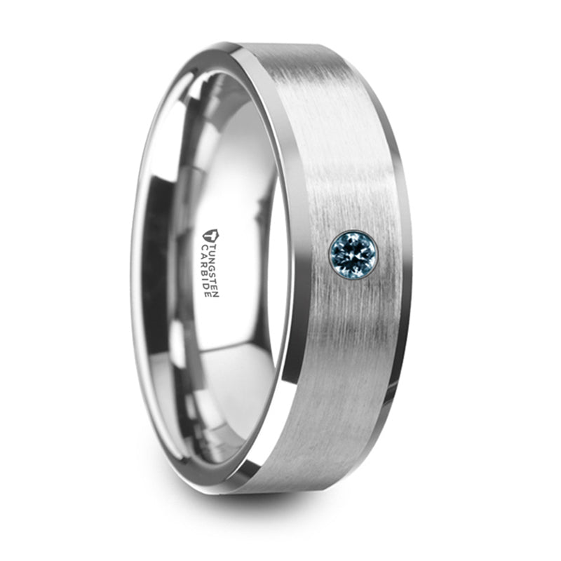 Thorsten Moore Flat Brushed Center Polished Beveled Edges Tungsten Wedding Band w/ Blue Diamond Setting (8mm) W5979-TCBS
