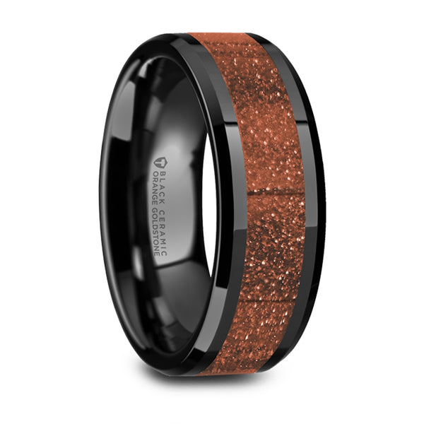 Thorsten Bolin Black Ceramic Polished Finish Beveled Edges Wedding Band w/ Orange Goldstone Inlay (8mm) W5987-BCGS