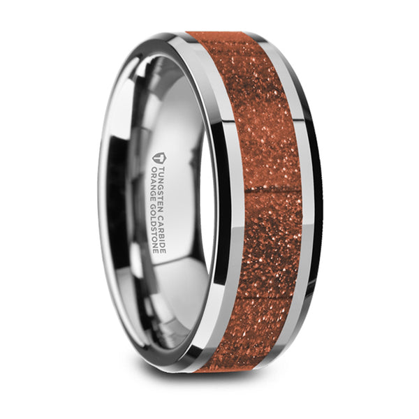 Thorsten Bodhi Polished Finish Beveled Edges Tungsten Wedding Band w/ Orange Goldstone Inlay (8mm) W5988-WTGS