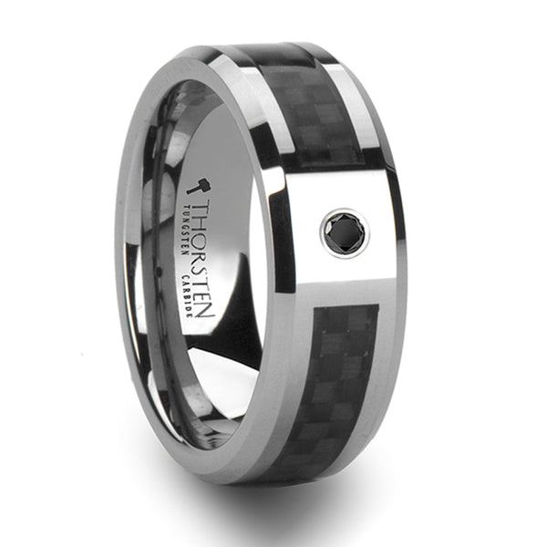 Thorsten Bentley Tungsten Carbide Ring w/ Black Carbon Fiber & Black Diamond(8mm)W802-BCBD