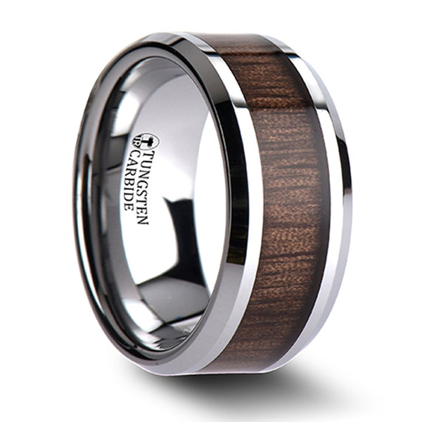 Thorsten Halifax Beveled Tungsten Carbide Ring w/ Black Walnut Wood Inlay (6-10mm) W805-BWIT