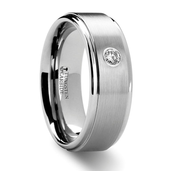 Thorsten Brighton Tungsten Carbide Ring w/ Diamond Set(8mm)W8128-RSDB