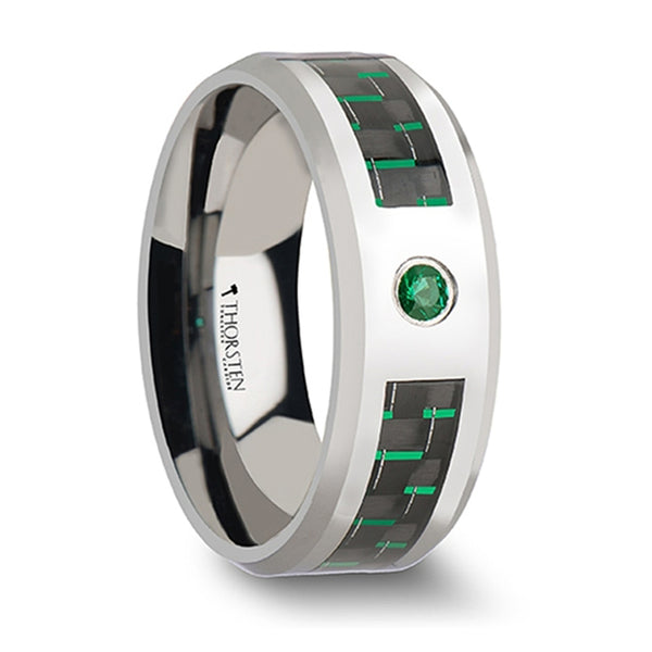 Thorsten Aspen Tungsten Carbide Ring w/ Black & Green Carbon Fiber & Emerald Setting (8mm) W866-TEBG