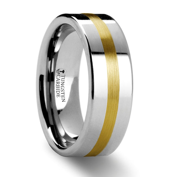 Thorsten Harrisburg Gold Inlaid Flat Tungsten Ring  (8mm)W871-FGIB