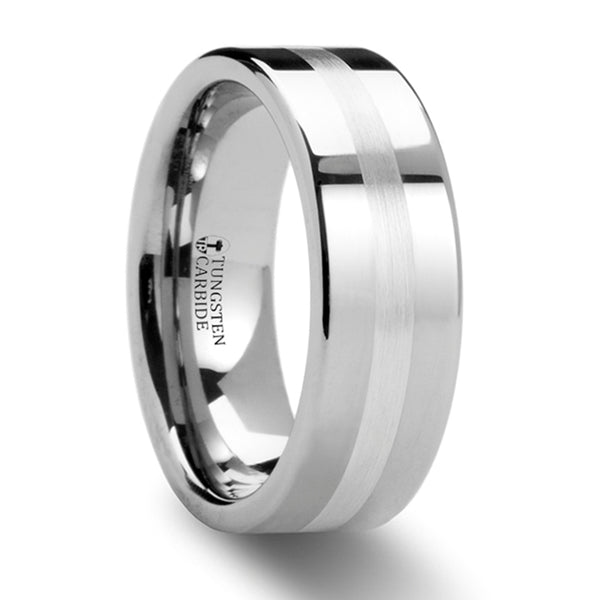 Thorsten Gemini Pipe Cut Tungsten Carbide Ring w/ Silver Inlaid (8mm)W873-FSSB