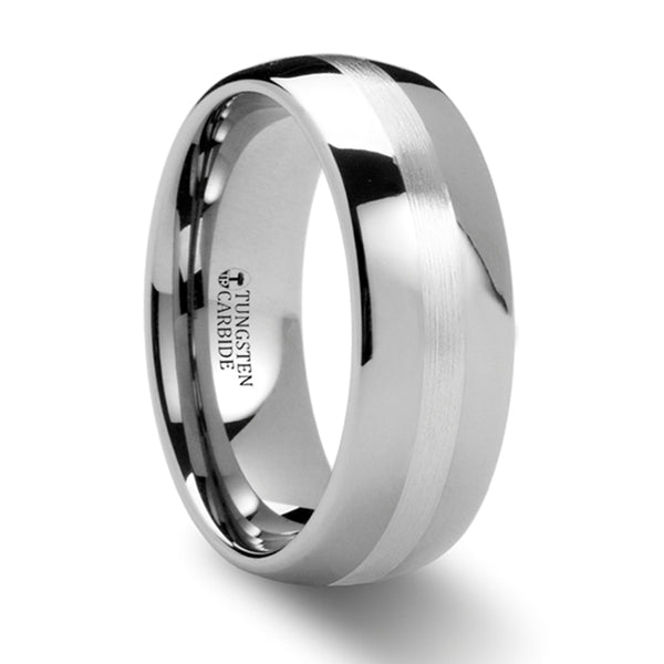 Thorsten Cassius Silver Inlaid Domed Tungsten Ring(8mm)W884-DSSB