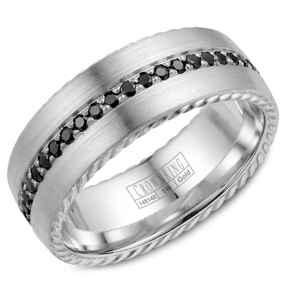 CrownRing Rope Collection 8MM Wedding Band with 45 Black Diamonds WB-002RD8W