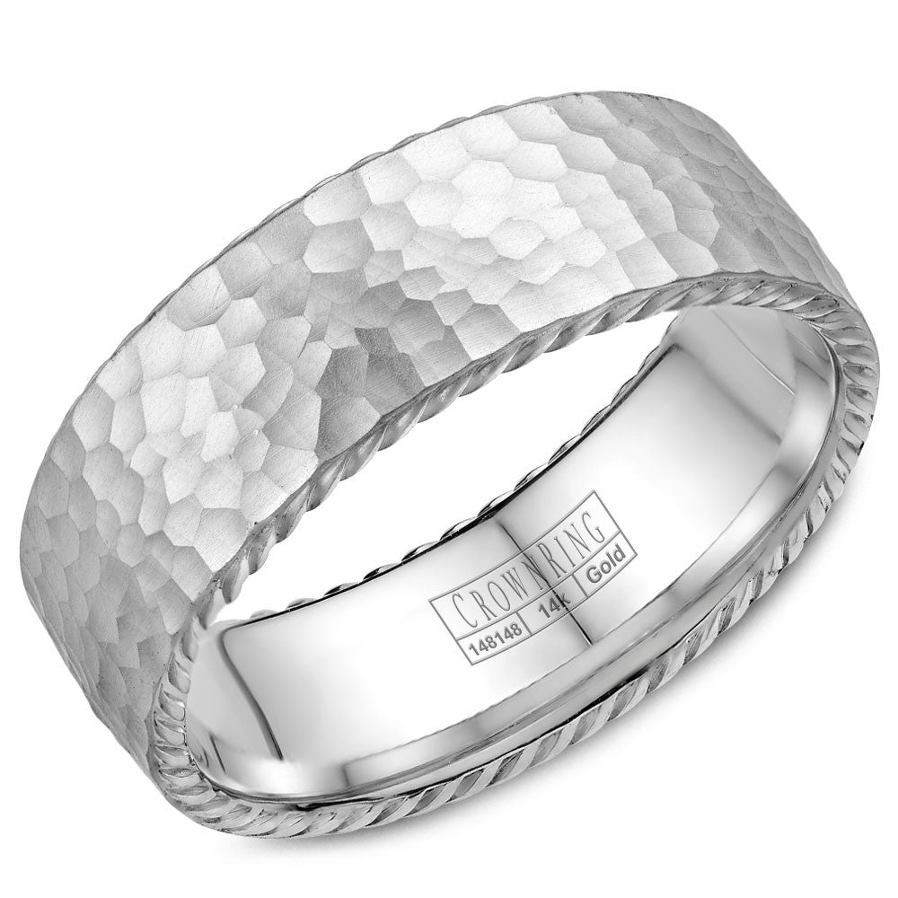 CrownRing Rope Collection 8MM Wedding Band with Hammered Finish WB-004R8W