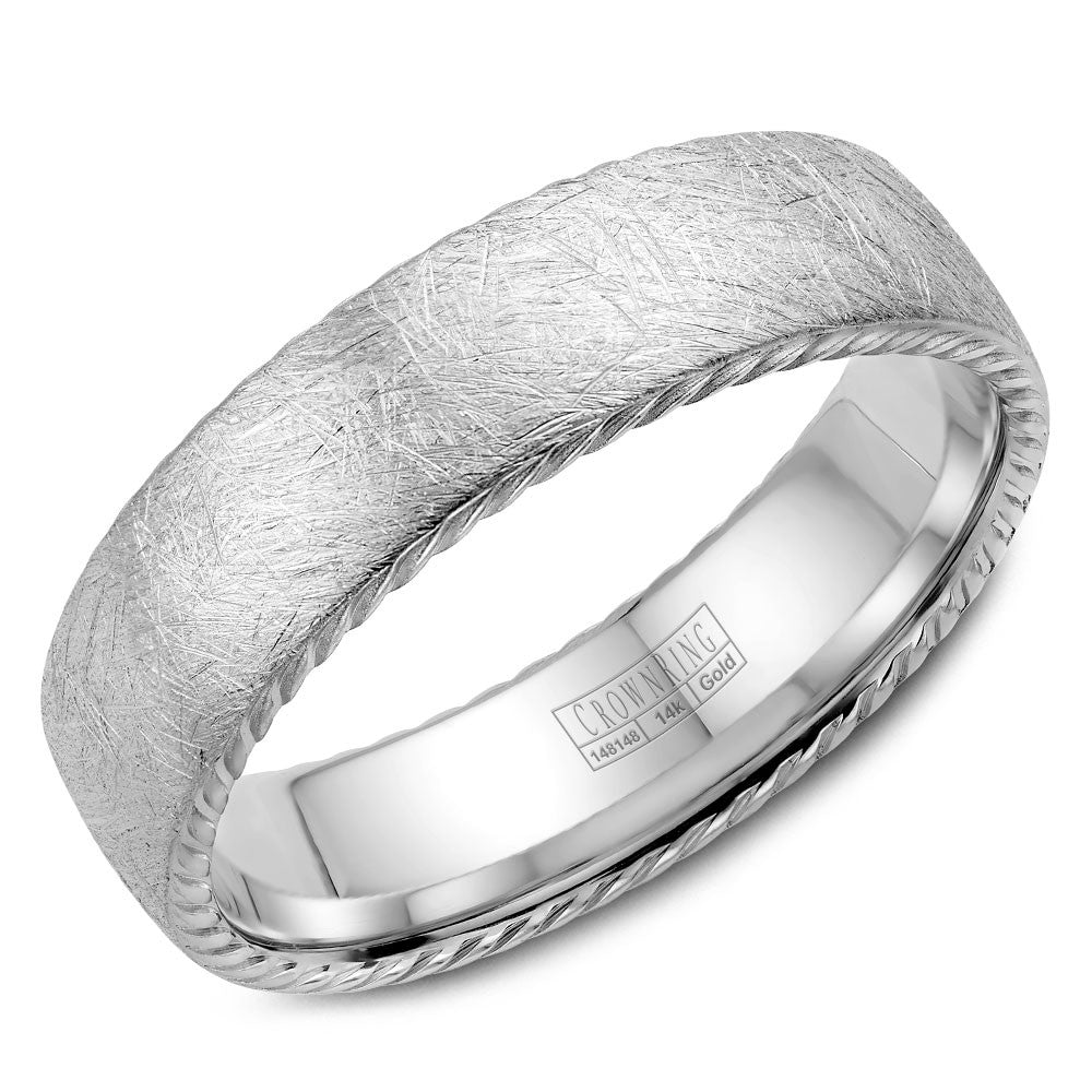 CrownRing Rope Collection 6MM Wedding Band with Textured Finish WB-006R6W