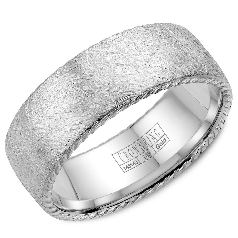 CrownRing Rope Collection 8MM Wedding Band with Textured Finish WB-006R8W