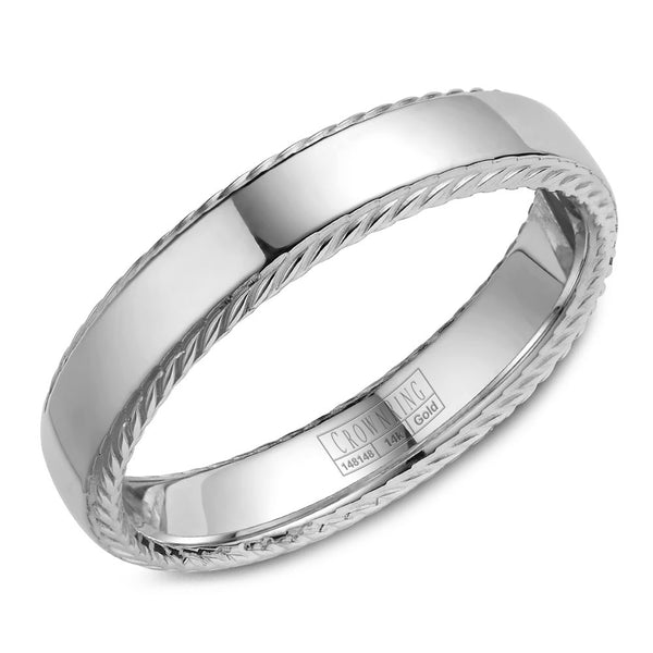 CrownRing Rope Collection 5MM Wedding Band with Polished Center WB-007R5W