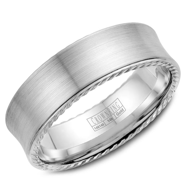 CrownRing Rope Collection 7MM Wedding Band with Brushed Center WB-008R7W
