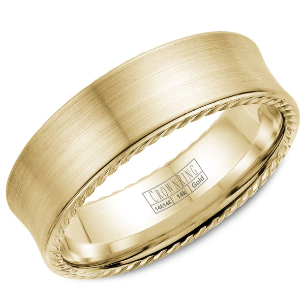 CrownRing Rope Collection 7MM Wedding Band with Brushed Center WB-008R7Y