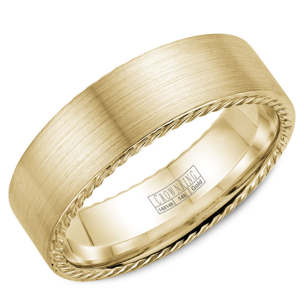CrownRing Rope Collection 7MM Wedding Band with Brushed Center WB-009R7Y