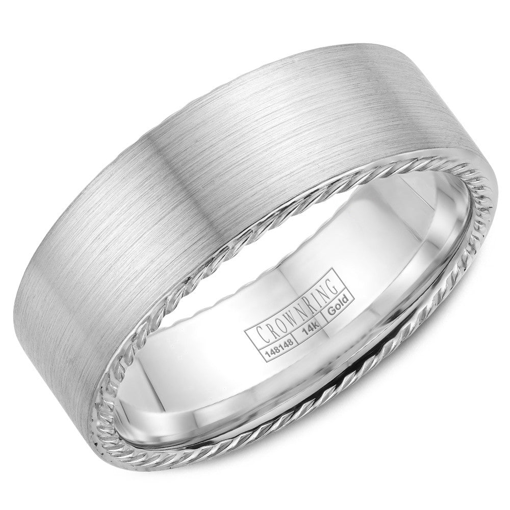 CrownRing Rope Collection 8MM Wedding Band with Brushed Center WB-009R8W