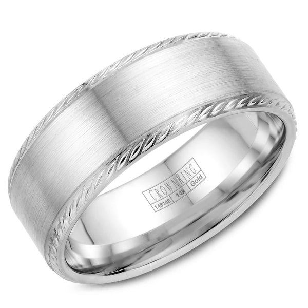 CrownRing Rope Collection 8MM Wedding Band with Brushed Center WB-011R8W