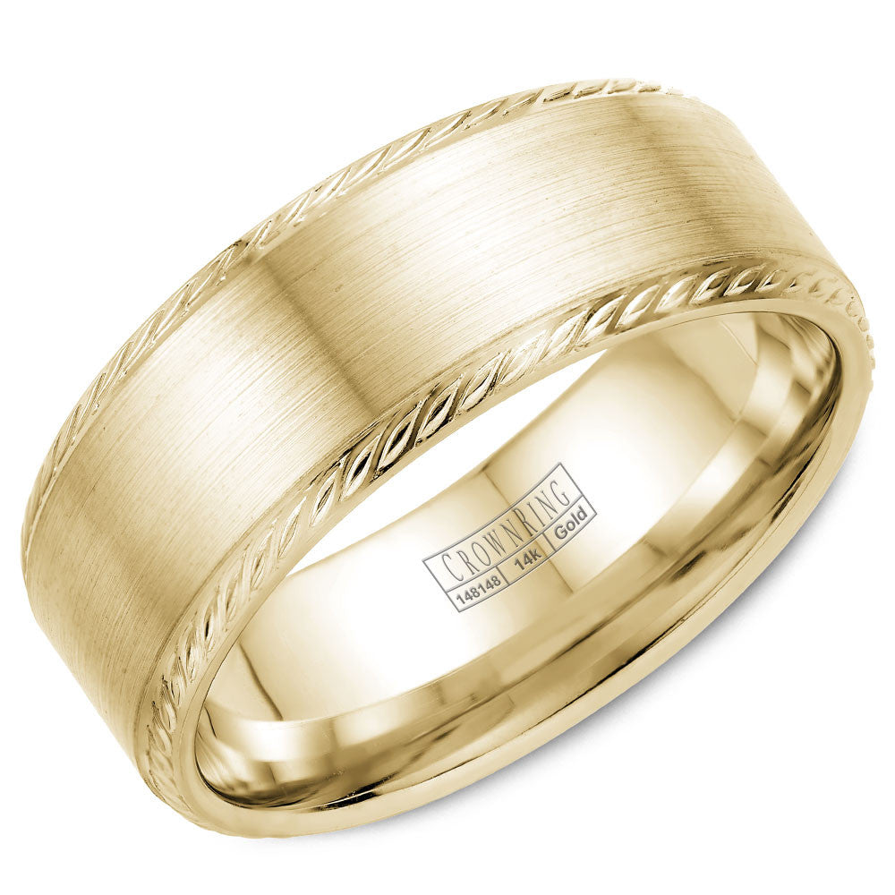 CrownRing Rope Collection 8MM Wedding Band with Brushed Center WB-011R8Y